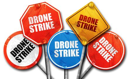 isolation tank: drone strike, 3D rendering, rough street sign collection Stock Photo