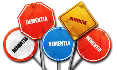 aging brain: dementia, 3D rendering, rough street sign collection