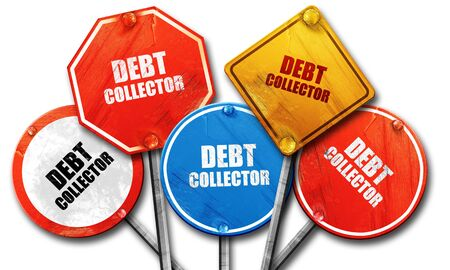 debt collection: debt collector, 3D rendering, rough street sign collection