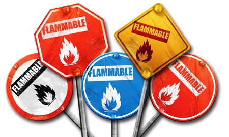 flammable: flammable, 3D rendering, rough street sign collection