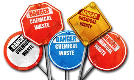 waste prevention: Chemical waste sign with some smooth lines, 3D rendering, rough street sign collection