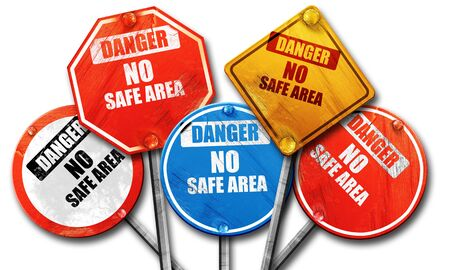 hazardous area sign: apocalypse danger background on a grunge background, 3D rendering, rough street sign collection Stock Photo