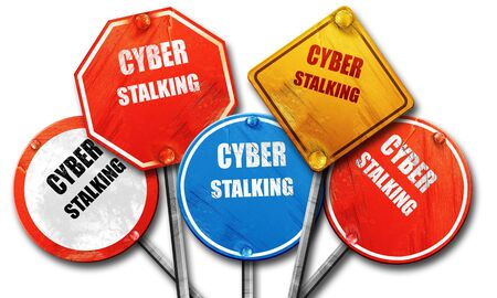 cyber attacks: Cyber stalking background with some smooth lines, 3D rendering, rough street sign collection Stock Photo