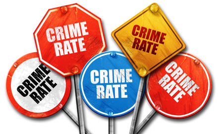 convicted: crime rate, 3D rendering, rough street sign collection Stock Photo