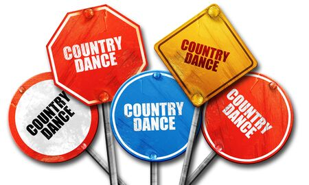 3d dance: country dance, 3D rendering, rough street sign collection