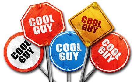cool guy: cool guy, 3D rendering, rough street sign collection Stock Photo