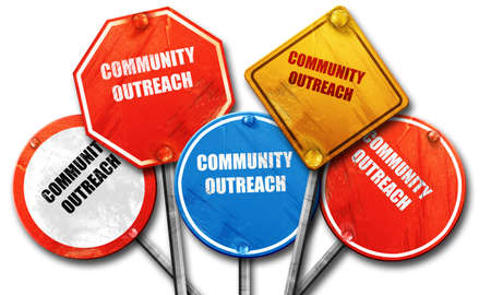 community outreach: Community outreach sign with some smooth lines, 3D rendering, rough street sign collection