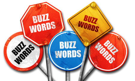 buzzword: buzzword, 3D rendering, rough street sign collection Stock Photo