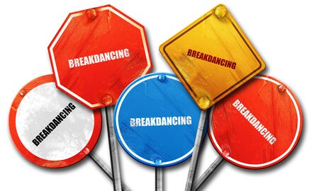 breakdancing: breakdancing, 3D rendering, rough street sign collection Stock Photo