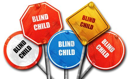 blind child: blind child, 3D rendering, rough street sign collection Stock Photo