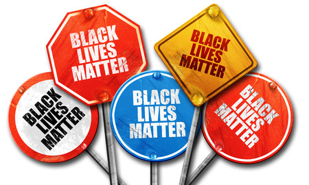 disobedience: black lives matter, 3D rendering, rough street sign collection