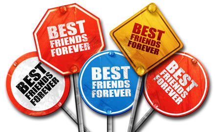 best schools: best friends forever, 3D rendering, rough street sign collection