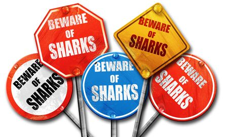 streetsign: Beware of sharks sign with some smooth lines, 3D rendering, rough street sign collection Stock Photo