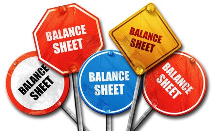 red sheet: balance sheet, 3D rendering, rough street sign collection