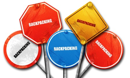 backpacking: backpacking, 3D rendering, rough street sign collection Stock Photo