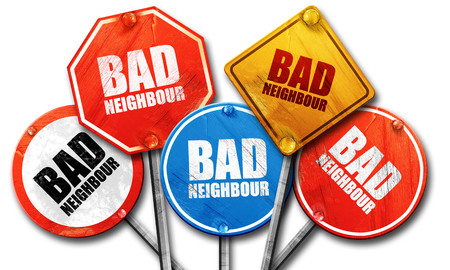 neighbours: bad neighbour, 3D rendering, rough street sign collection Stock Photo