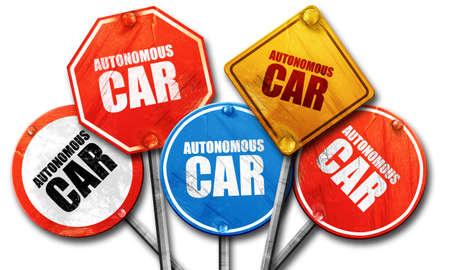 autonomous: autonomous car, 3D rendering, rough street sign collection Stock Photo