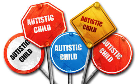 autistic: autistic child, 3D rendering, rough street sign collection Stock Photo