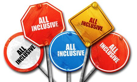 inclusive: All inclusive, 3D rendering, rough street sign collection