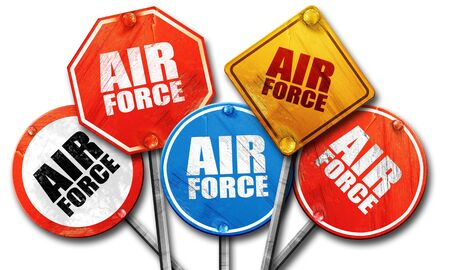 air force, 3D rendering, rough street sign collection Stock Photo