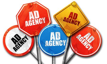 ad: ad agency, 3D rendering, rough street sign collection Stock Photo