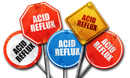 acid reflux: acid reflux, 3D rendering, rough street sign collection