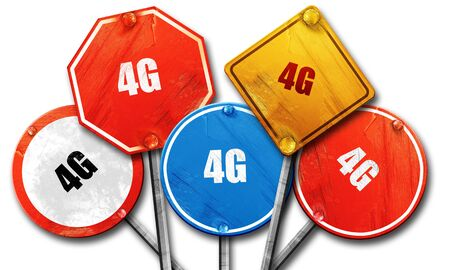 4g: 4G, 3D rendering, rough street sign collection Stock Photo