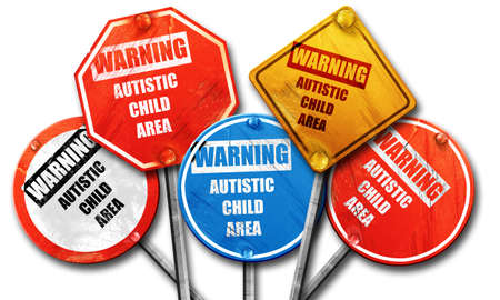 autistic: autistic child area, 3D rendering, rough street sign collection