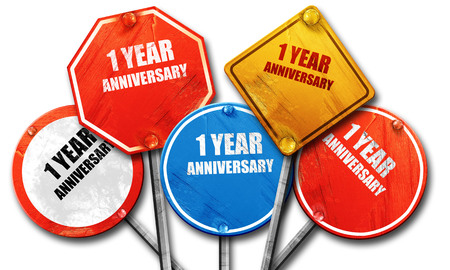 1 year anniversary: 1 year anniversary, 3D rendering, rough street sign collection Stock Photo