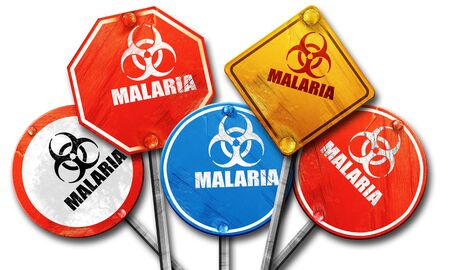 malaria: malaria concept background with some soft smooth lines, 3D rendering, rough street sign collection Stock Photo