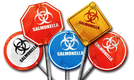 salmonella: Salmonella concept background with some soft smooth lines, 3D rendering, rough street sign collection Stock Photo