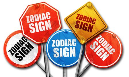 premonition: zodiac sign, 3D rendering, rough street sign collection Stock Photo