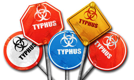 typhus: Typhus concept background with some soft smooth lines, 3D rendering, rough street sign collection Stock Photo
