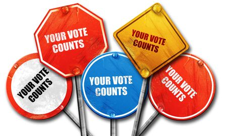 counts: your vote counts, 3D rendering, rough street sign collection