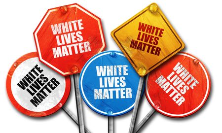matter: white lives matter, 3D rendering, rough street sign collection Stock Photo