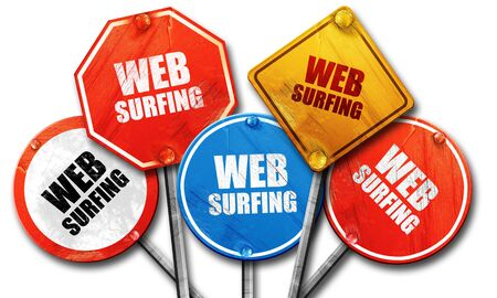 web surfing: web surfing, 3D rendering, rough street sign collection
