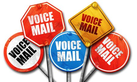 voicemail: voice mail, 3D rendering, rough street sign collection Stock Photo