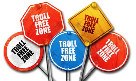 anti social: troll free zone, 3D rendering, rough street sign collection