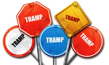 tramp: tramp sign background with some soft smooth lines, 3D rendering, rough street sign collection
