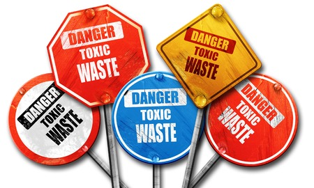 hazardous area sign: Toxic waste sign with some smooth lines, 3D rendering, rough street sign collection