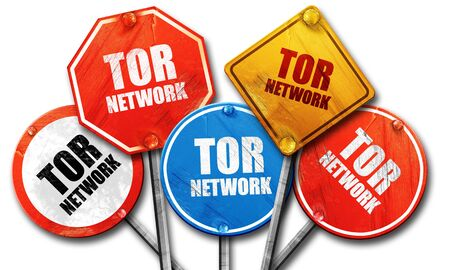 resisting: tor network, 3D rendering, rough street sign collection