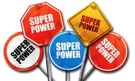 noise isolation: super power, 3D rendering, rough street sign collection Stock Photo