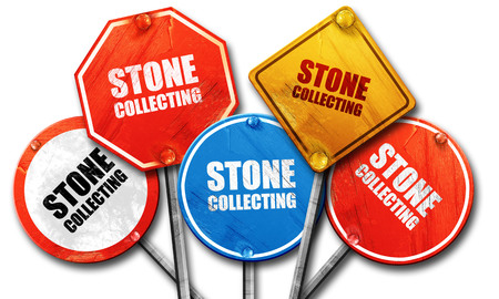 streetsign: stone collecting, 3D rendering, rough street sign collection Stock Photo