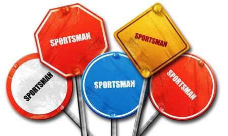 streetsign: sportsman, 3D rendering, rough street sign collection Stock Photo