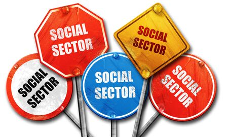 wap: social sector, 3D rendering, rough street sign collection Stock Photo