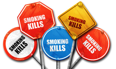 killing cancer: smoking kills, 3D rendering, rough street sign collection