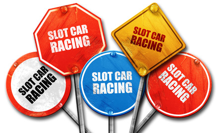 slot car track: slot car racing, 3D rendering, rough street sign collection