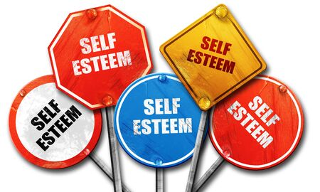 self worth: self esteem, 3D rendering, rough street sign collection
