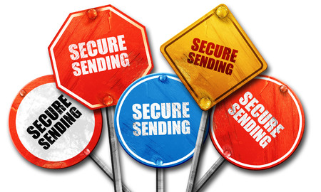 secure sending, 3D rendering, rough street sign collection Stock Photo
