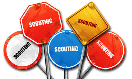 scouting: scouting, 3D rendering, rough street sign collection Stock Photo